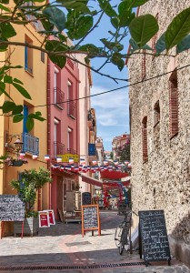 Beautiful narrow street in a the quiet French coastal town