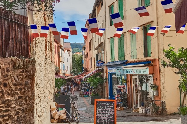 Beautiful back street in a the quiet French coastal town