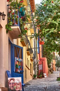 Narrow street in Collioure, France