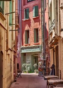 picturesque alleys in Collioure, France