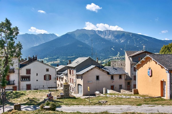 View of the Pyrenees from the smallest hilltop town in France