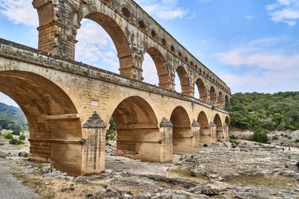 View of Pont Du Gard from the river bank