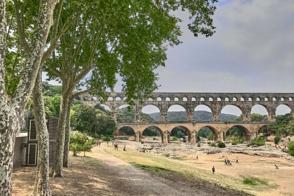 View of Pont Du Gard at the left side of the river