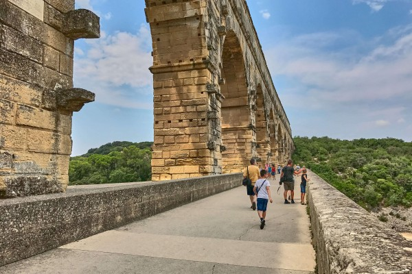 Part of the Pont Du Gard walking trail, the new Bridge next to the original Aqueduct Pont Du Gard