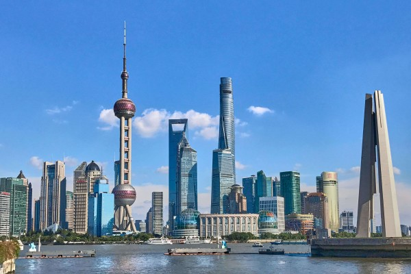 View of the Shanghai Skyline from the Suzhou Creek