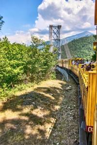 Crossing the Gisclard suspension bridge