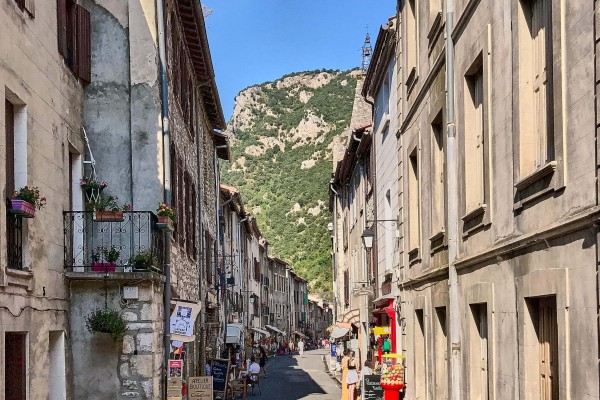 The street view in Villefranche-de-Conflent, France