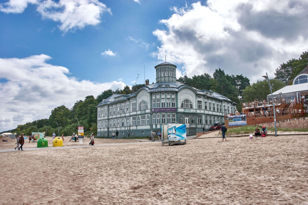 Jurmala beach and the wooden Architectural House, Latvia