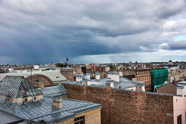 View from Gutenbergs Rooftop restaurant in Latvia; Baltic Road Trip Itinerary