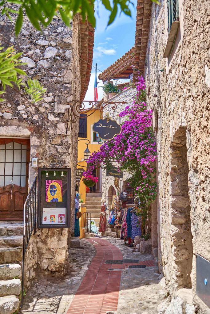 Narrow street with shops in Eze Village