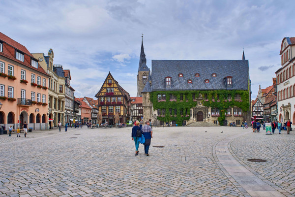 The late Gothic town hall and the Roland statue in the Old Town of Quedlinburg