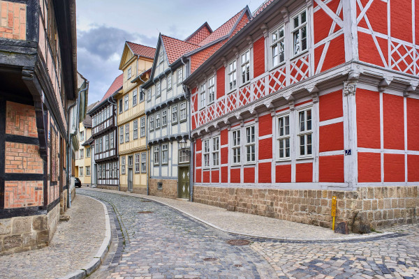 Colourful half-timbered houses in the Old Town of Quedlinburg