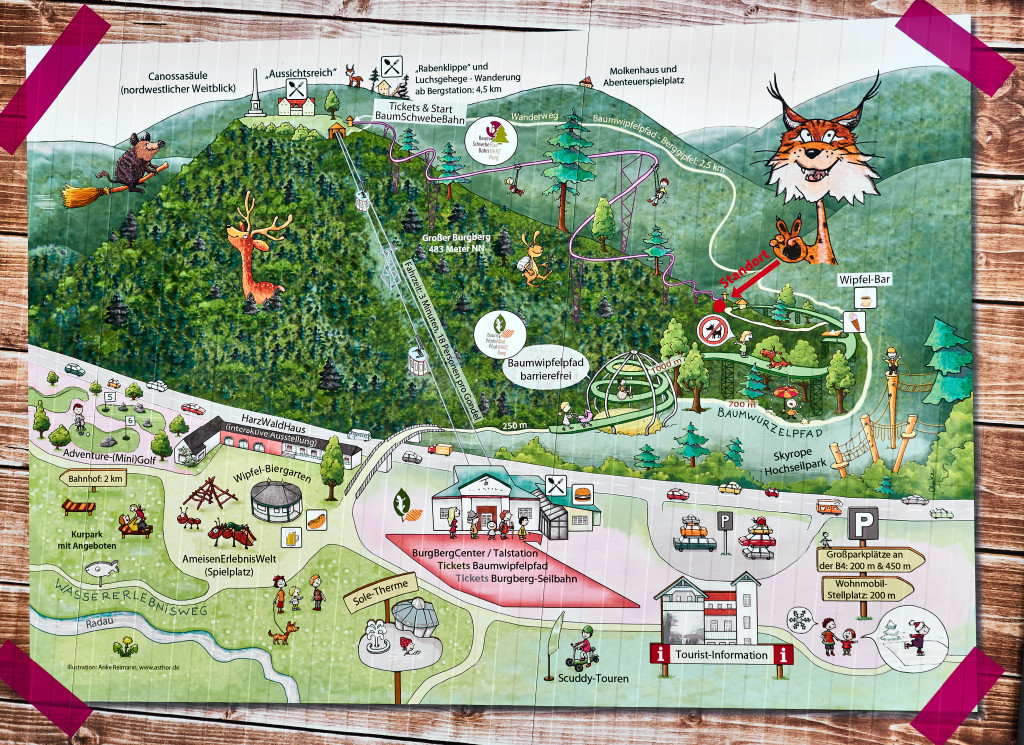 Map of the Treetop Trail in Bad Harzburg, Germany's Harz Mountains
