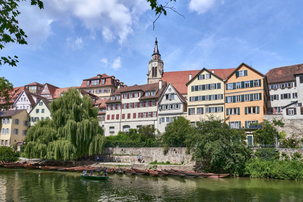 View of the Old town of Tübingen from the island; vacation in the Swabian Alb